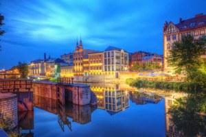 Opole widok miasta noc