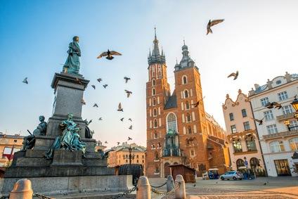 Kraków - widok na kościół Mariacki